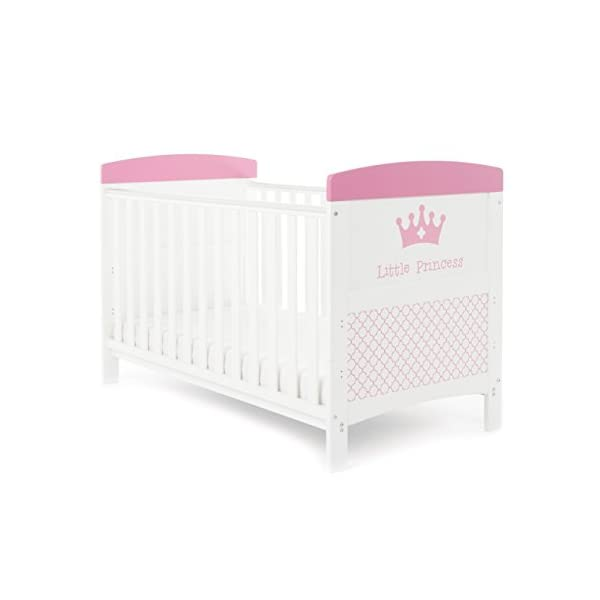 Obaby Grace Inspire Cot Bed - Little Princess Obaby Adjustable 3 position mattress height Bed ends split to transforms into toddler bed Protective teething rails along both side rails 1