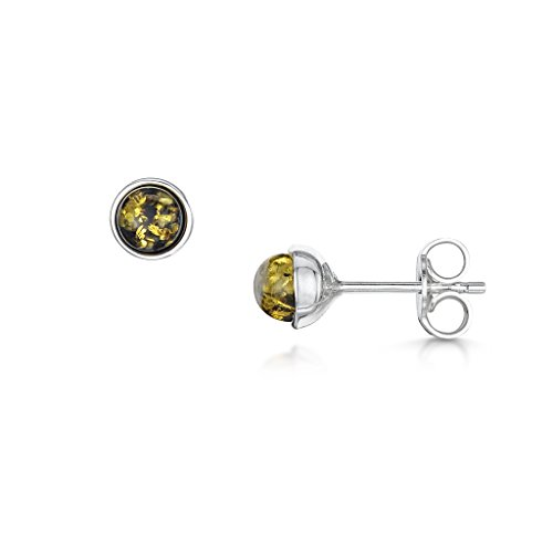 31K7nCPHWEL UK BEST BUY #1Amberta 925 Sterling Silver with Baltic Amber   Classic Stud Round Earrings   Green Colour price Reviews uk