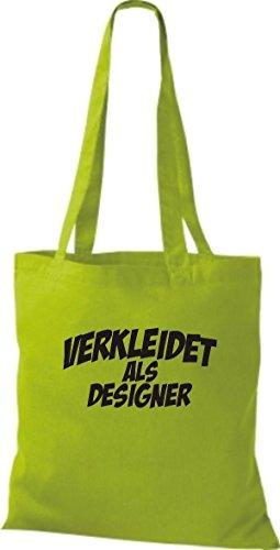 ShirtInStyle Stoffbeutel Karneval verkleidet als Designer, Kostüme verkleiden, viele Farben limegreen