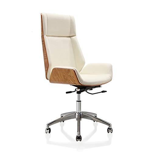 WANGZRY Hohe-Zurück Bugholz Swivel Büro Computer Stuhl Micro Faser Leder Büro Möbel Für Haus, Konferenz Aufgabe Leder Sessel,White -
