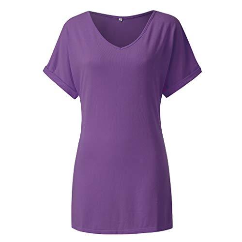 TEFIIR T-Shirt für Damen, Ladies Plus Size Baggy Shirt Übergrößen Batwing Kurzarm V-Ausschnitt Tops -