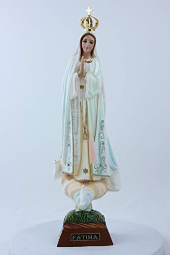 Allgemeine Statue der Madonna von Fatima mit glänzenden Verzierungen Höhe cm. 35. Für Innen- und Außenbereiche geeignet Hergestellt aus Kunstharz. Hergestellt (Fatima-statue)