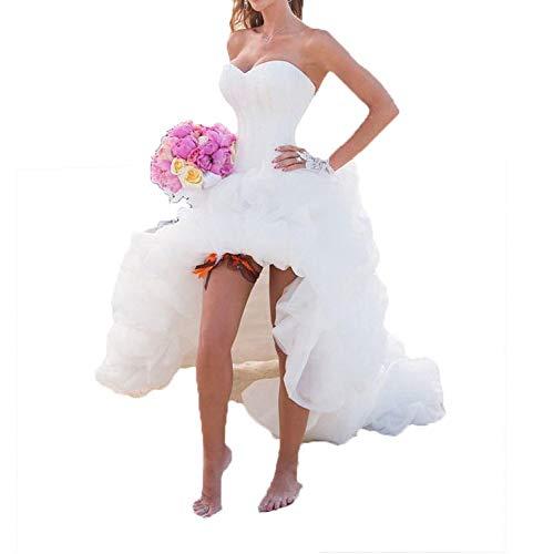 Vokuhila Brautkleid mit Schleppe