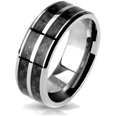 BlackAmazement unisex Titan anillo plata negocios carboxílico embutido negro hombres mujeres pareja anillo de boda