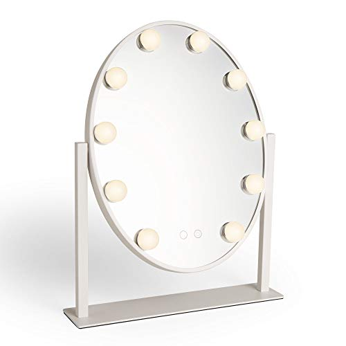 Beautify Espejo Oval Blanco - Tocador - Vanidad - Maquillaje - Cosméticos - Luces LED - Regulable ...