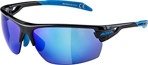 ALPINA Sonnenbrille Amition TRI-Scray Sportbrille, Black-Cyan, One Size