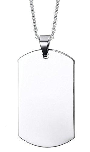 AmDxD Schmuck Silber Dog Tag Anhänger Halskette (mit Gratis Gravur) Edelstahl Kette 55CM - Dogtag Design
