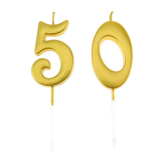 Amosfun Cake Topper Vela Número 50 Decoración de cumpleaños Velas Suministros para Fiestas