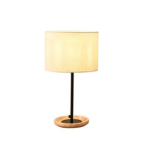 YONGJUN Holz Schreibtischlampe, Schlafzimmer Kopf Lampe, Wohnzimmer, LED Nachttischlampe, Stoff Leinen, Moderne Japanische Art Square Tischleuchte ( Farbe : Schwarz )