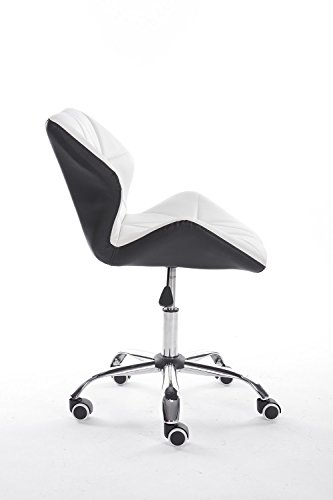 Contemporary Designer Office Chair Meeting Room Task Chair Pu leather Desk Chair (White and black)
