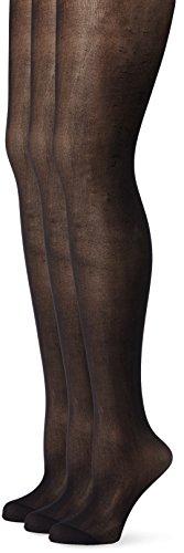 Ulla Popken Damen große Größen | Fein-Strumpfhose | 3er Pack, 20den, matt | bis Größe 60/62 | schwarz 56/58 698492 10-56+ -
