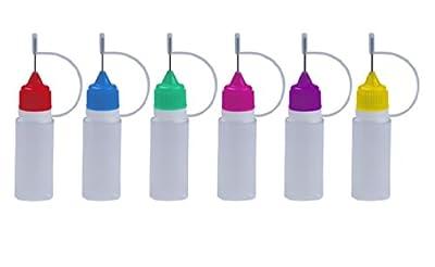 6 Stück FARBIGE Nadelflaschen inkl. Beschriftungsetiketten - SmokerFuchs® Nadelcap - Leerflasche je 10 ml zum befüllen und mischen von E-Liquid für elektrische Zigaretten von ReiTrade