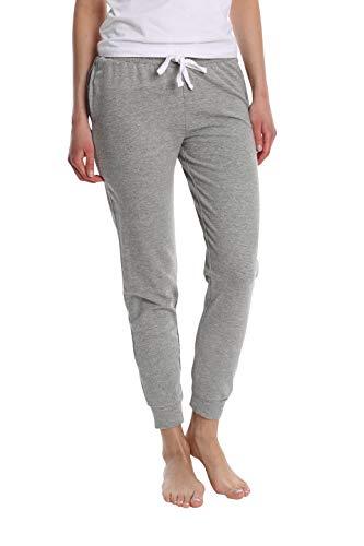 Blis Damen Jogger Pyjamahose aus Baumwolle - Damen Lounge & Nachtwäsche PJ Hose - Grau - Mittel -