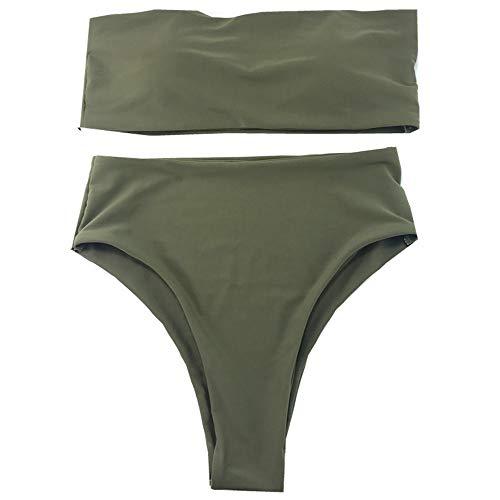 Zun Gu Xuan Juego de Bikini Sexy para Mujer, sin Tirantes, Cintura Alta, Cheeky, Tankini,...