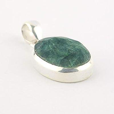 """Pendentif ovale d'Émeraude vert serti d'argent 925, 20x15x6 mm (0.79x0.59x0.24"""")"""