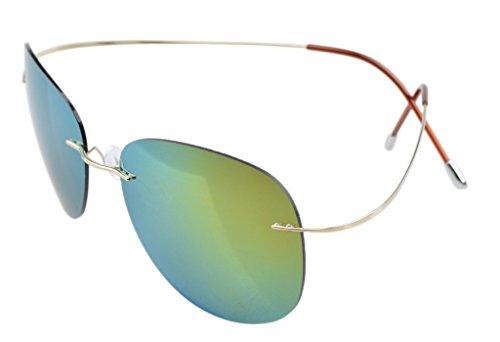 Eyekepper Randlos Titan Rahmen polarisierten Sonnenbrillen Gold/Gold Spiegel (Silhouette Brille Damen)