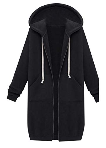 CuteRose Womens Long Sleeve Relaxed-Fit Hooded Cardigan Trench Coat Black M (Coat Trench Leather Womens Black)