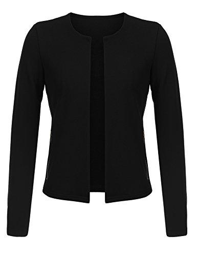 Beyove Damen Eleganter Blazer festlich Kurz Bolero Jacke kragenlos Spitzen Jäckchen Langarm Arm (EU 40(Herstellergröße:L), Schwarz)