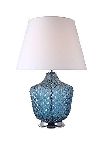 Lampe à poser en verre coloré bleu style classique chic - ROMA