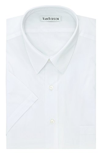 Van Heusen Men's Big and Tall Short Sleeve Poplin Solid Fit Dress Shirt, White, 17.5