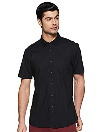 Allen Solly Men's Solid Regular fit Casual Shirt (ALSHACUPV99707_Black 38)