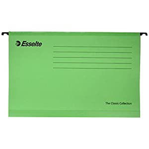 Esselte 90337 Classic Reinforced Suspension File, Foolscap, Tabs Included, Green, Pack of 25, 360 x 240 mm