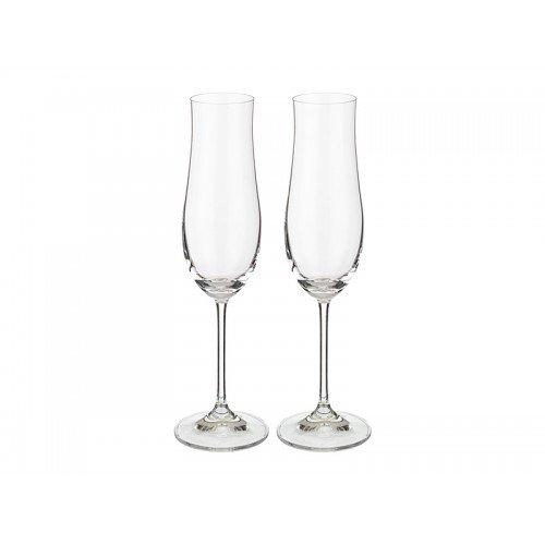 Bohemia Kristall-Sektgläser, 2er-Set, 180ml, Kristallglas - elegant & stilvoll - 2 Stück Champagnergläser, sehr hochwertig, Crystal, tolles Geschenk - für Weihnachten, Silvester, Neujahr.