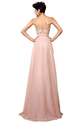Promgirl House Damen Elegant Chiffon A Linie Traegerlos Ballkleider Abendkleider Festkleider Lang Blau