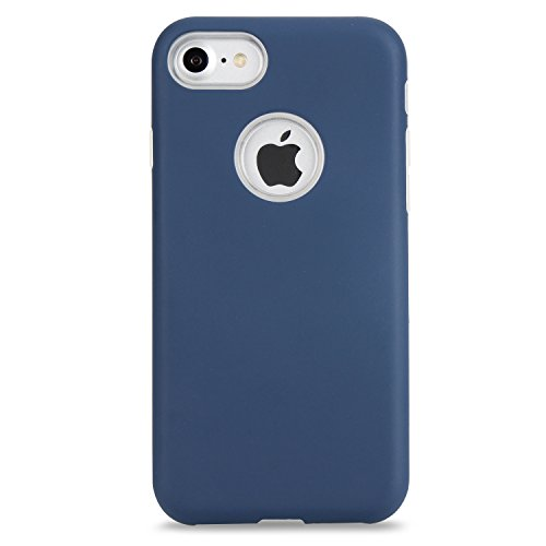 iPhone 7 Coque [4.7 pouce] , TPU couleur unie Case Silicone Slim Souple Étui de PRougection Flexible Soft Cover Anti Choc Ultra Mince Integrale Couverture Bumper Caoutchouc Gel Anfire Housse pour iPho Navy Blue