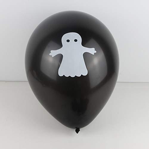 Zorux - 15 Stück Halloween-Partyballon-Dekoration, lustiges orange-schwarzes, bedrucktes Geister-Jack-o-Lantern-Latex-Luftballons, Trick or Treat Schwarz