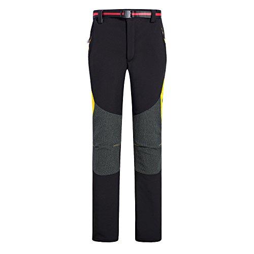 emansmoer Femme Softshell Doublé Polaire Coupe-Vent Imperméable Pantalon Outdoor Sport Camping Randonnée D'Escalade Pants (XX-Large, Noir)