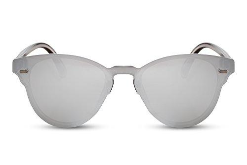 Cheapass Sonnenbrille Rund-e Gläser Flach-e Gläser Silber-n Sport Outdoor Verspiegelt UV-400 Plastik Damen Herren