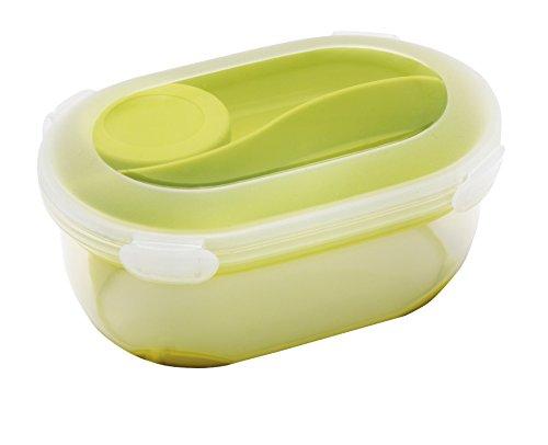 Addis Clip & Go Salat Fresh Food Lunchbox mit Göffel & Dressing Aufbewahrung Topf, Limettengrün, 1375ml Addis Clip