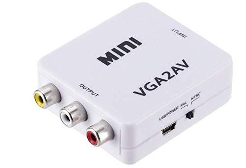 Mini convertidor de vídeo HD AV2VGA Caja convertidor AV RCA CVBS a convertidor de vídeo VGA Conversor con Audio de 3,5mm a PC HDTV convertidor