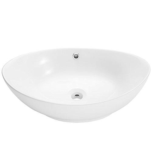 Tectake ceramica lavabo in trattato lavamani angolare lavello rettangolare bagno sospeso | -modelli differenti- (tipo 4 lavabo in trattato | no. 402572)