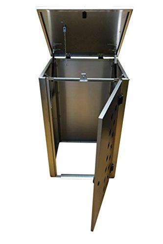 Mülltonnenbox Edelstahl, Modell Eleganza Quad11 als Viererbox für 240 Liter Tonnen - 2