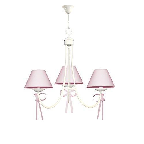Lámpara infantil de techo de 3 luces color blanco con detalle de lazos rosas y pantallas de tela rosa