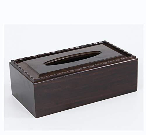 Wjsw tissue box holder nero ebano e fine crafts decorazione, stile vintage a mano lucido carving kleenex portatovaglioli arredamenti, 22 * 11.9 * 7.5cm