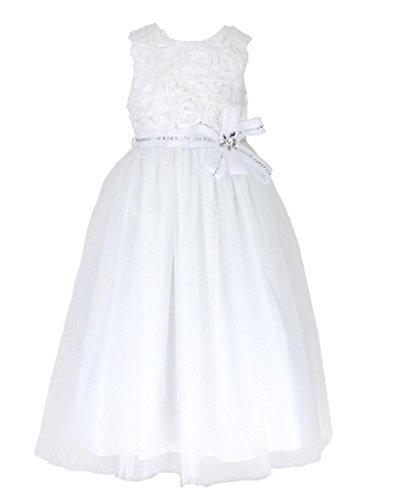 go2victoria Tüll Brautjungfern Anlässe Festkleid Mädchen Weiß Kleid Gr.98/104 (W2303-2#)