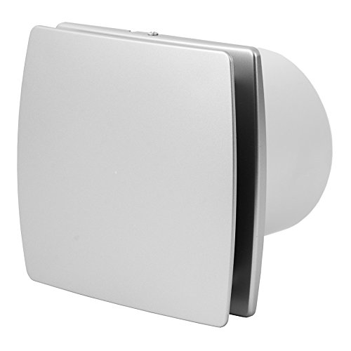 Bad-Lüfter Ventilator Leise 100 mm SILBER mit Feuchtesensor und Timer, T100HTS