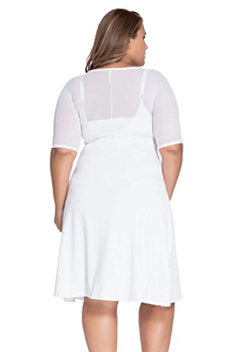 3ec54fee72 Loveours Große Größen VAusschnitt Kleid Partykleider Cocktail Midikleid Weiß
