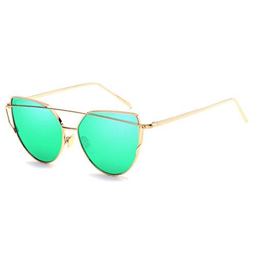 Quceyu Lunettes de soleil pour femmes Fashion Cat Mirror Frame Retro Classique Flat Mirror Lunettes de soleil(Vert/Golden)