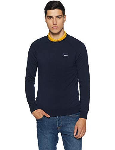 Superdry Herren ORANGE Label Cotton Crew Pullover, Blau (Classic Navy JKD), Large - Classic Crew-pullover