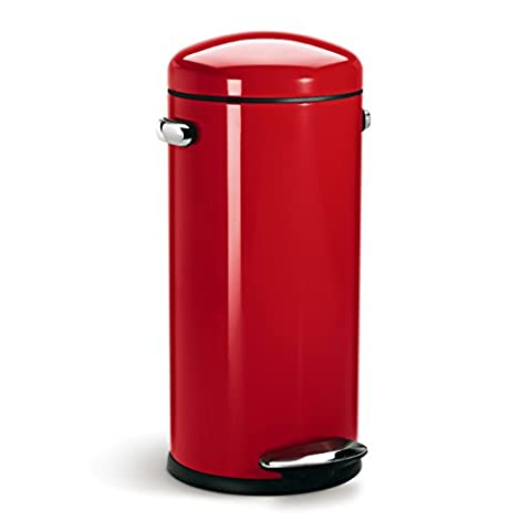 simplehuman Retro Pedal Bin, 30 L - Red Steel