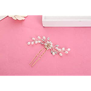 FengJingYuan-ZHUBAO Pearl Crystal Hair Wanne Hair Stick mit 2 Hochzeits-Spezial-Occasion Headpiece