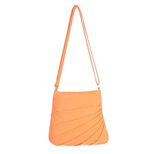 iTal-dEsiGn Damentasche Kleine Schultertasche Umhängetasche Kunstleder TA-6008 Orange