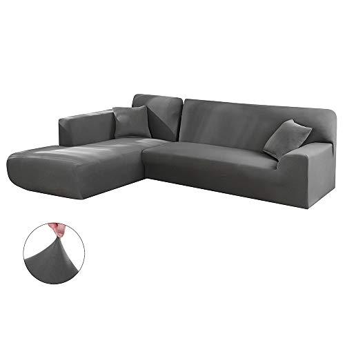 Copridivano con penisola elasticizzato chaise longue sofa cover componibile in poliestere a forma di l è composto da 2pcs (grigio, 3 posti+4 posti)