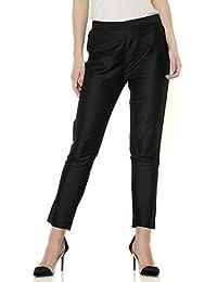Srishti By Fbb Women's Solid Ankle Length Straight Fit Pants (Black, L)