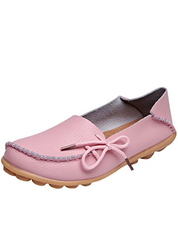 MatchLife Damen Vintage Leder Flach Pumpe Casual Schuhe Pink EU42/CH43