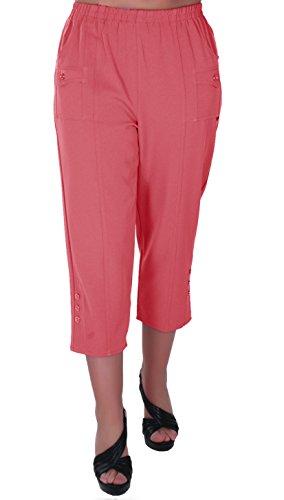 Eyecatch - Verde Damen Capri Crop Hose Flexi Stretch plus Größen Frauen 3/4 Hosen (Capris Orange Womens)
